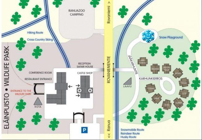 Plano del complejo turístico de Ranua. A la derecha se puede ver la distribución de las villas