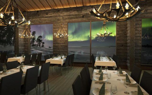 Desde el interior del restaurante la vista hacia el lago Inari es espectacular