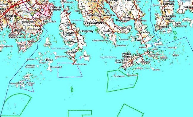 Mapa del archipiélago de Porvoo
