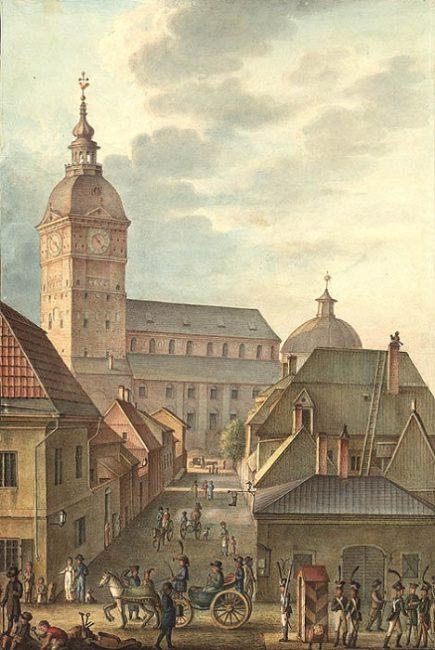 La Catedral de Turku en el año 1814 antes del gran incendio