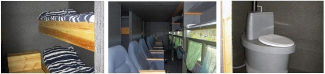 Detalle interior de un tipo de cabaña camuflada para observar osos con comodidad