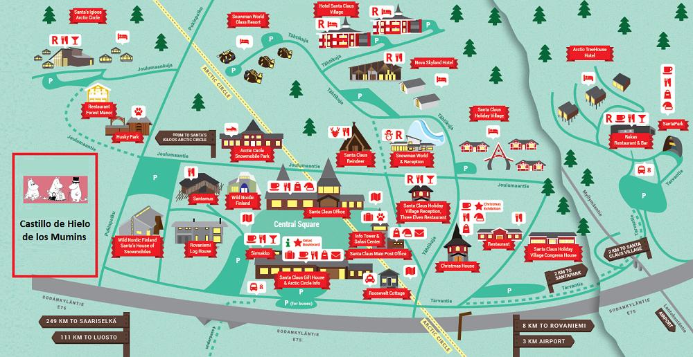 Mapa del pueblo de Papá Noel y la ubicación del Castillo de Nieve de los Mumins