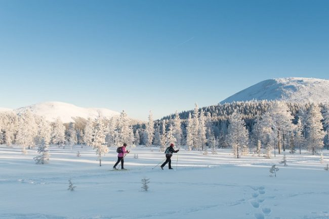 Practicando esquí de fondo en Ylläs