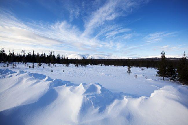Desde Olos se pueden ver las montañas del Parque Nacional de Pallas-Yllästunturi