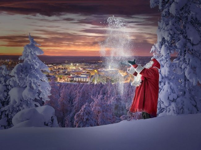 Papá Noel en la colina de Ounasvaara y vista de la ciudad de Rovaniemi