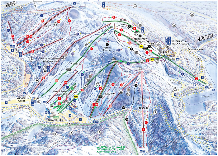Mapa de la estación de esquí de Ruka