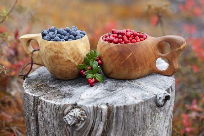 Mirtilos y arándanos rojos en la taza tradicional Sami