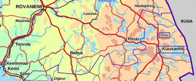Ruka se encuentra a 25 kilometros de Kuusamo