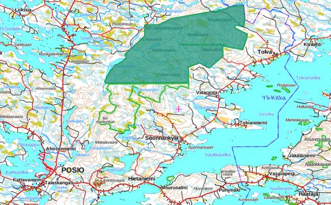 Mapa donde se ubica el Parque Nacional de Riisitunturi