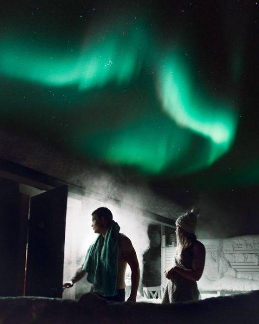 Sesión de sauna bajo la Aurora Boreal