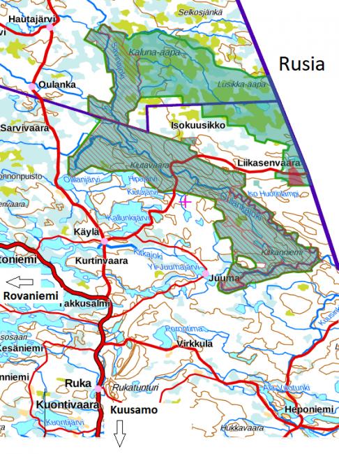 Mapa de la ubicación del Parque Nacional de Oulanka