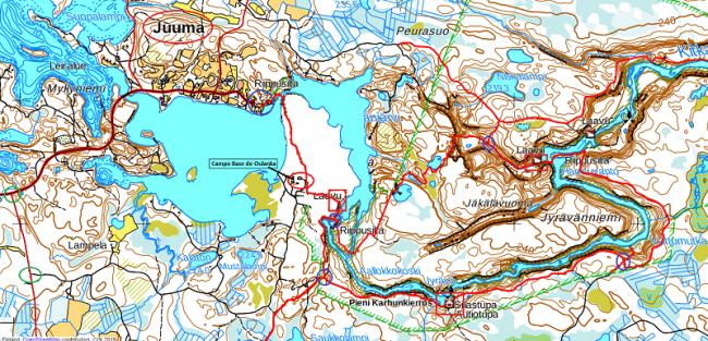 Mapa del Pieni Karhunkierros y lugares de inicio