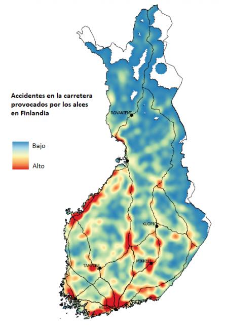 Mapa de la distribución de los accidentes con alces entre los años 2013 y 2017