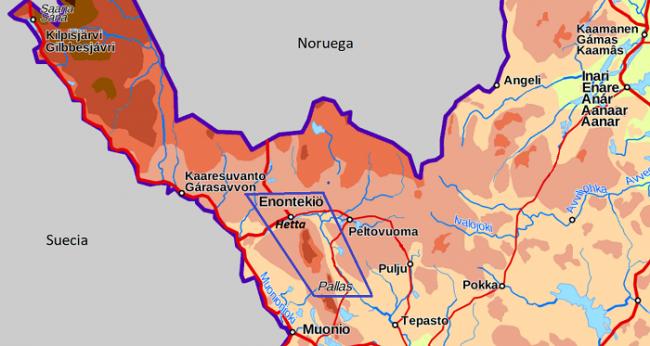 Mapa de la ubicación de la ruta de Hetta a Pallas