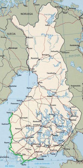 Mapa mostrando la ruta por carretera de Helsinki a Vaasa