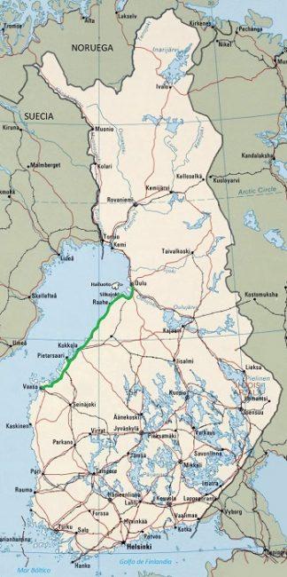 Mapa mostrando la ruta por carretera de Vaasa a Oulu