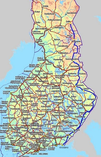 Mapa de Finlandia mostrando en azul la Vía Karelia