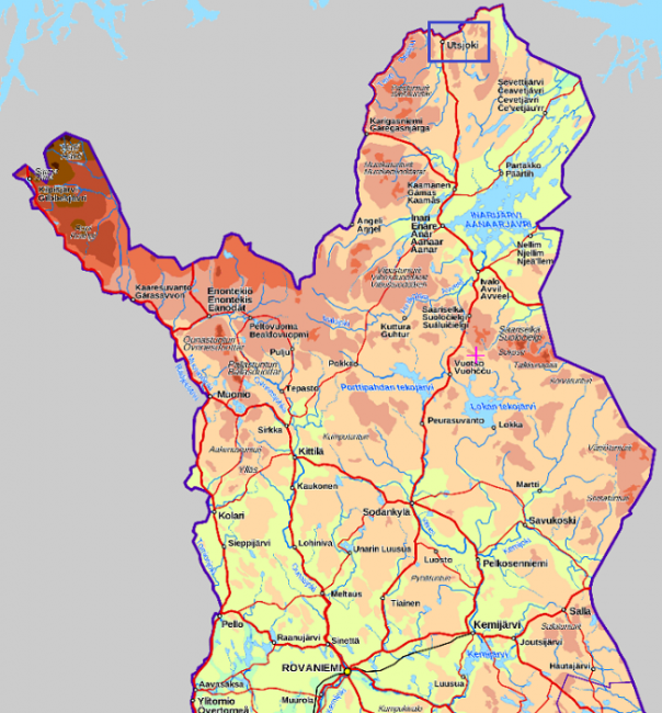 Mapa de Laponia mostrando la ubicación de Utsjoki