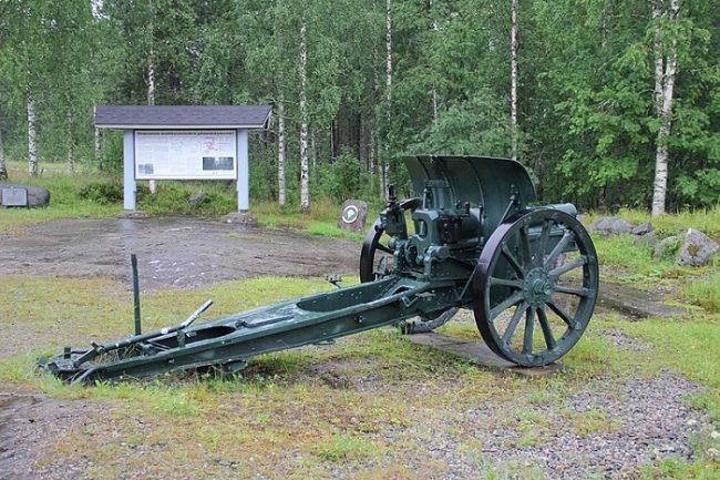 Pieza de artillería en el Memorial de Ilomantsi