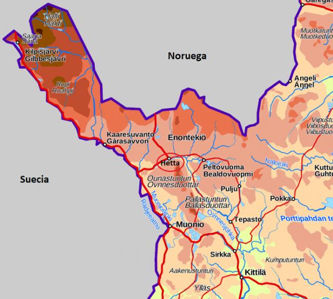 Mapa donde se ubica Hetta-Enontekiö