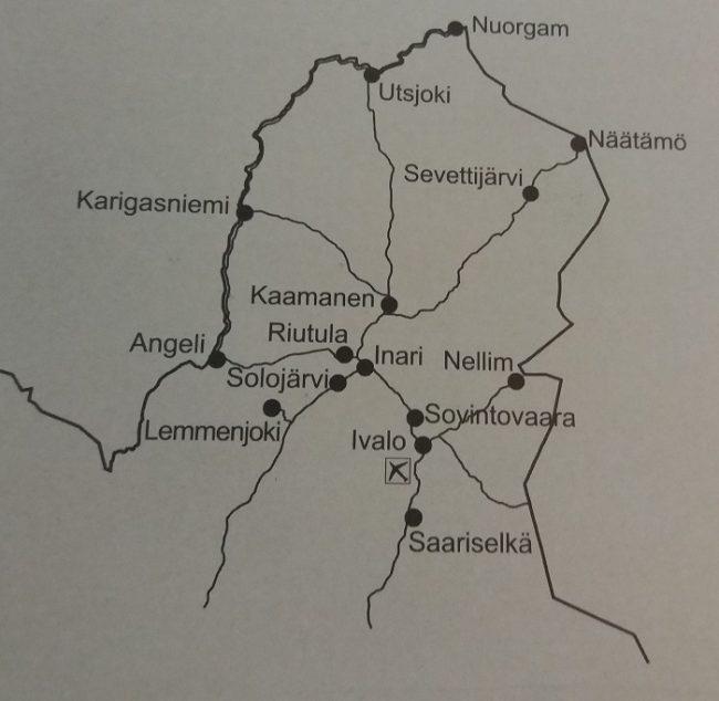 Mapa de Laponia finlandesa mostrando el territorio Sami
