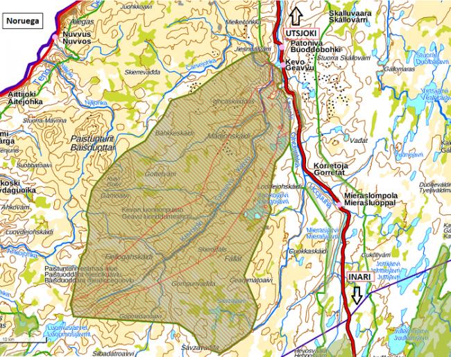 Mapa de la Reserva Natural de Kevo