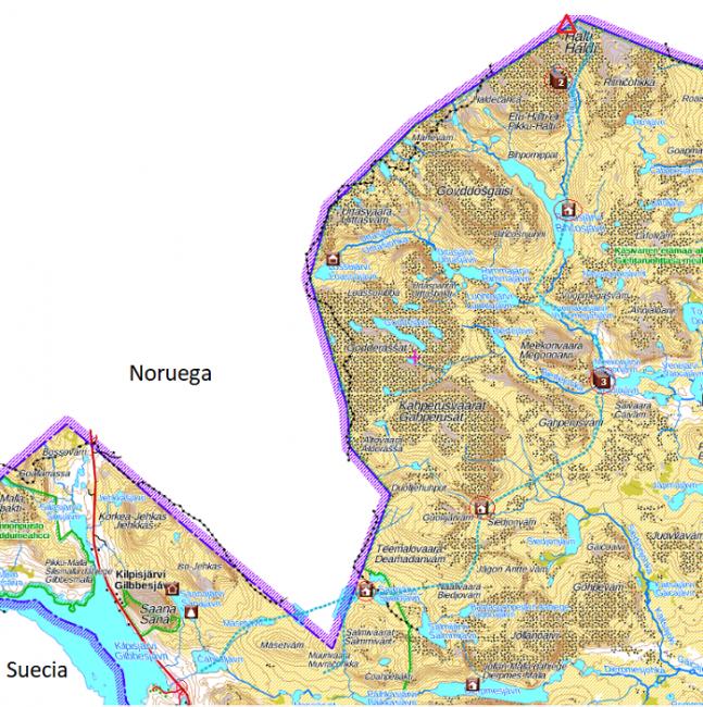 Mapa mostrando la ruta de invierno de ascensión al Halti