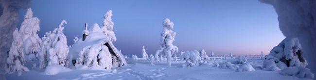 Cima de la montaña de Lampivaara en invierno donde se encuentra la mina de amatista