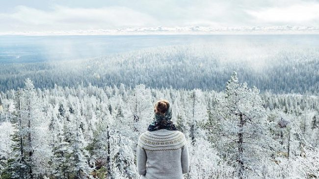 Espectacular vista hacia la colina de Romevaara desde lo alto de Iso-Syöte