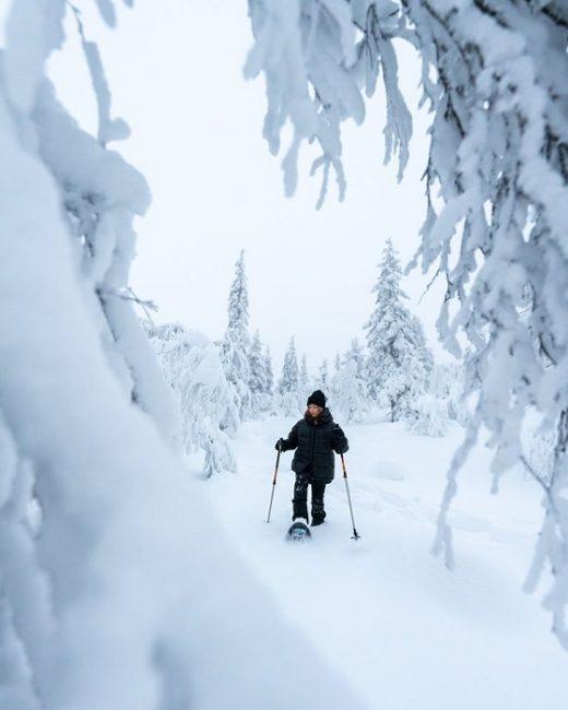 Alrededor de Äkäslompolo y en el Parque Nacional de Pallas-Yllästunturi son innumerables las excursiones con raquetas de nieve que se pueden realizar
