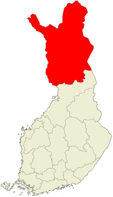 Mapa de Finlandia. En rojo la región de Laponia