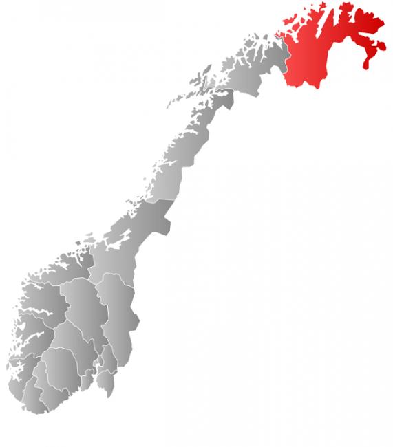 Mapa de Noruega. En rojo la región de Finnmark, Laponia Noruega