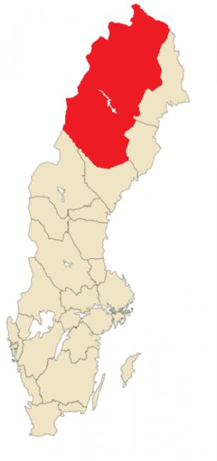 Mapa de Suecia. En rojo el territorio de Laponia Sueca