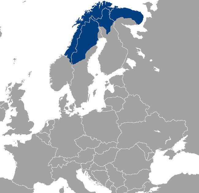 Mapa que muestra la ocupación del pueblo Sami