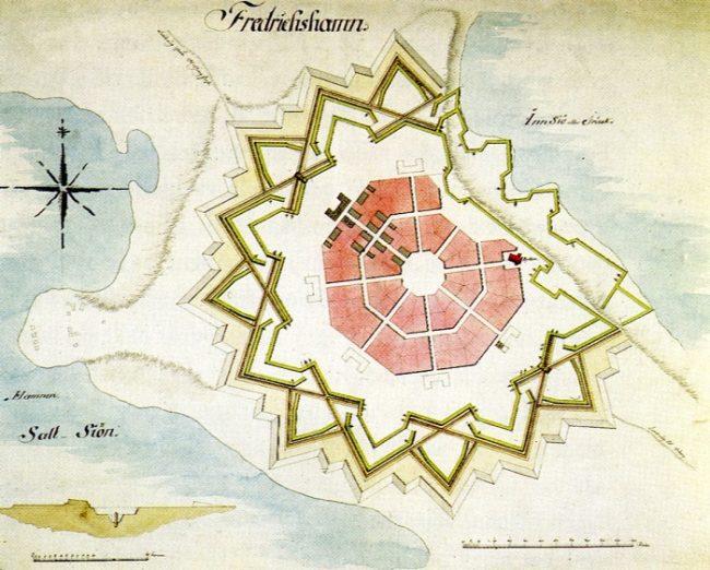 Diseño de la fortaleza de Hamina en el año 1723 por Axel Löwen