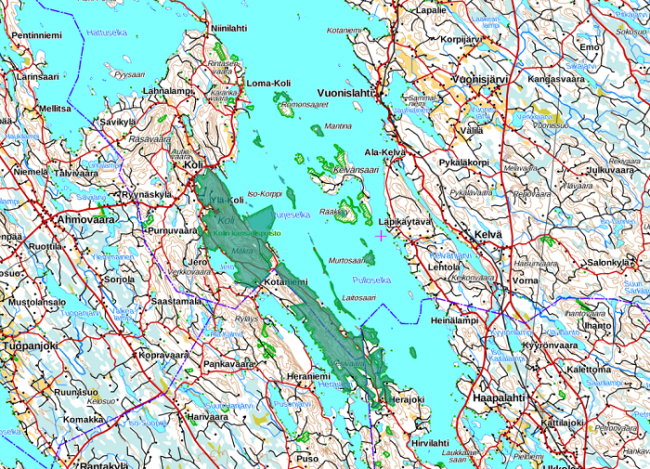 El área del Parque Nacional de Koli ocupa también algunas islas del lago Pielinen
