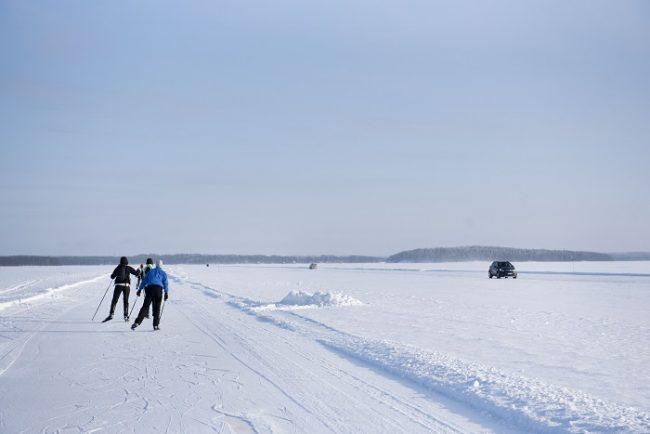 En invierno el lago Pielinen en el Parque Nacional de Koli ofrece un buen terreno de juego y una carretera de hielo de 7 km de largo