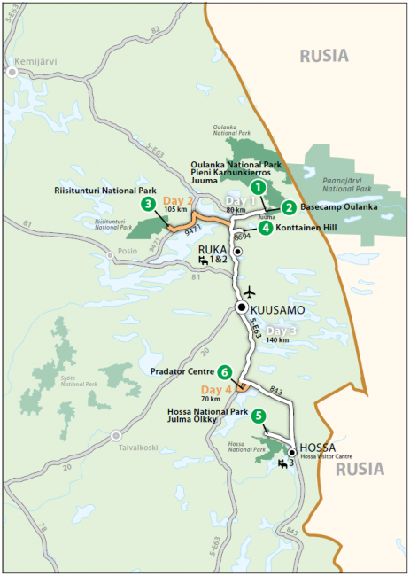 Mapa que muestra la ruta de los Parques Nacionales que rodean la ciudad de Kuusamo