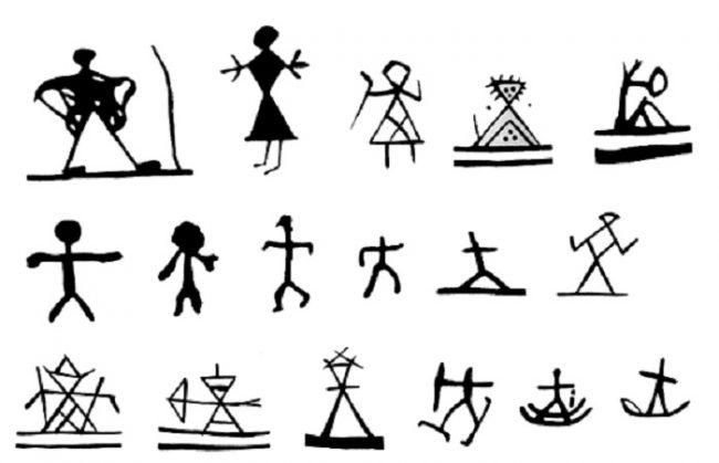 Representación de personas en los tambores de los Shamanes