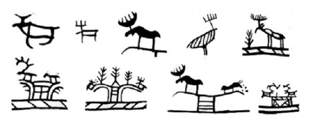 Representación del alce en los tambores de los Shamanes