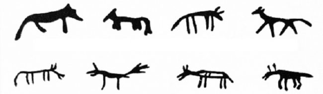 Representación del lobo en los tambores de los Shamanes