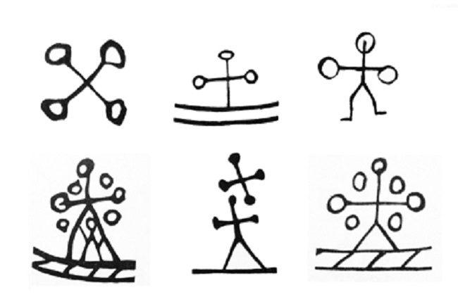 SÍmbolo de bruja o Shaman o persona hechizada en los tambores de los Shamanes