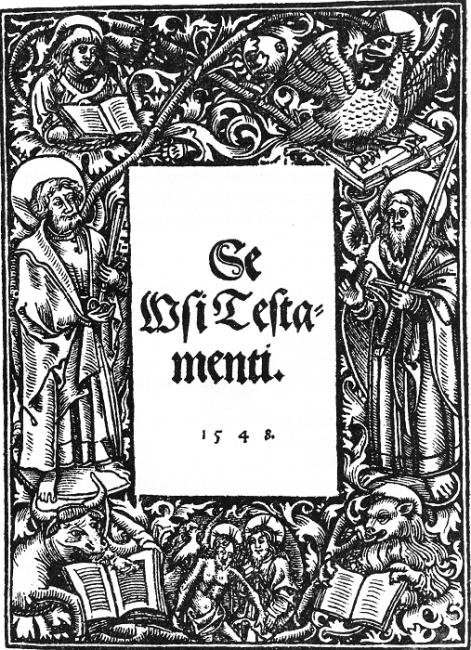 Cubierta del Nuevo Testamento traducido y escrito por Mikael Agricola en 1543