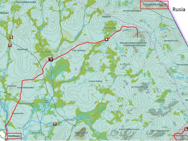 Mapa del itinerario hacia Korvatunturi murusta