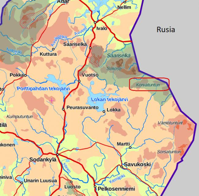 Mapa mostrando la ubicación de la Colina de la Oreja-Korvatunturi