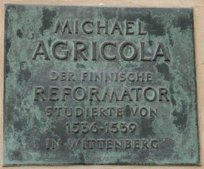 Placa de Mikael Agricola en Wittenberg (Alemania)
