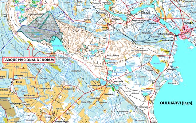 Detalle de la ubicación del Parque Nacional de Rokua