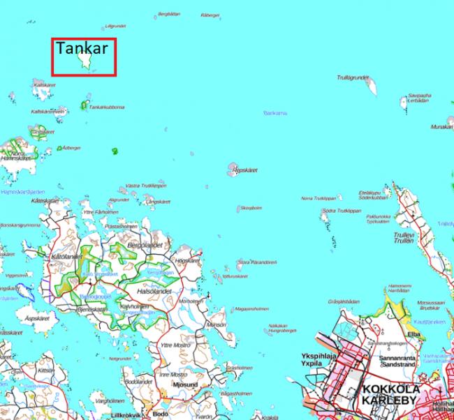 Situación de la isla de Tankar frente a la ciudad de Kokkola