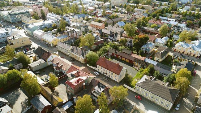 Vista aérea del barrio de Neristan en Kokkola