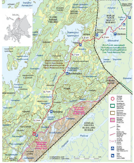 Mapa-reseña del camino de Piilola en el Área Natural de Vätsäri en Finlandia